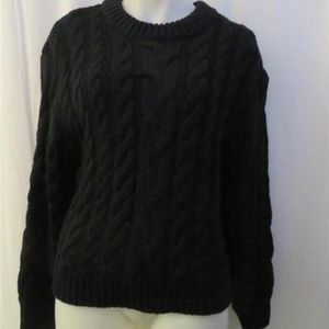 NWT WOMENS CALLAHAN BLACK CABLE KNIT  SWEATER L